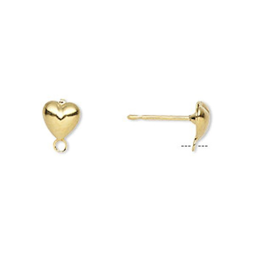 10 OR 100 Gold Plated Brass 6mm Heart Earstuds with Drop  ~Earring Posts