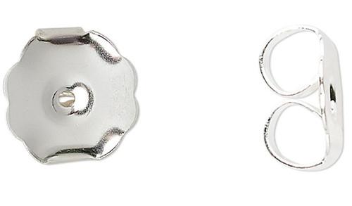 10 Silver Plated Brass 10x9x5mm Monster Earnut Earring Backs