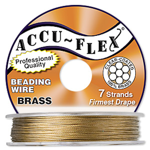 "100 Foot Spool 7 Strand Accu-Flex 100% Brass 0.024"" Diameter Beading Wire"