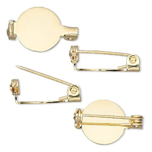 """10, 50 OR 100 Gold Plated Steel Pin Backs  ~ 1/2"""" Round Pin Base"""