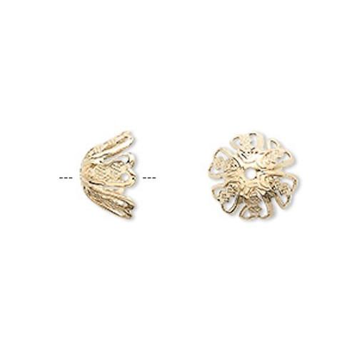 10 OR 100 Gold Finished Brass Large Filigree Basket Flower Bead Caps ~ 11x6mm