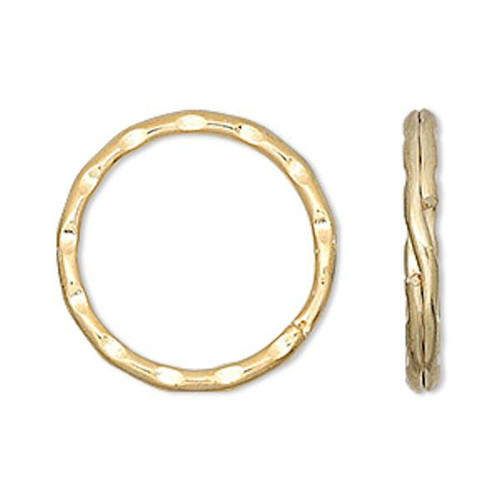 10 Large 25mm Hammered Gold Plated Steel Split Rings ~ Key Rings