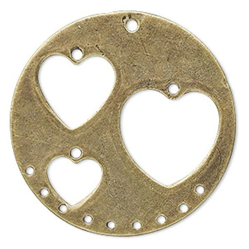 10 Antiqued Brass Finished Pewter Station with Hearts Connecter  ~ 40x1mm*