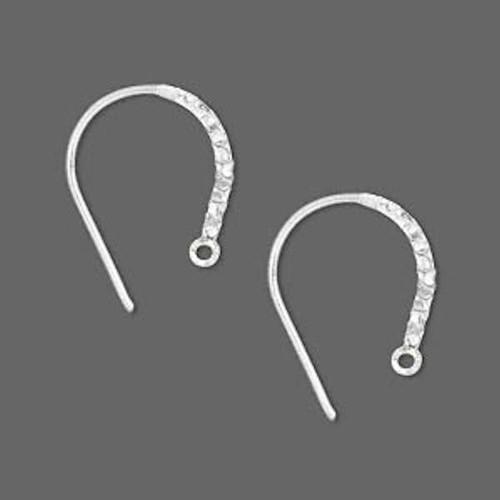 1 Pair Sterling Silver 16mm Hammered  Flattened Hoop Earwires  ~ 20 Gauge