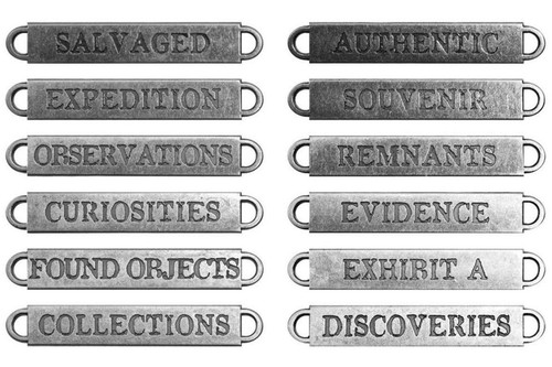 12 Antiqued Silver Metal OBSERVATIONS Word Bands ~ Tim Holtz  Idea-ology *