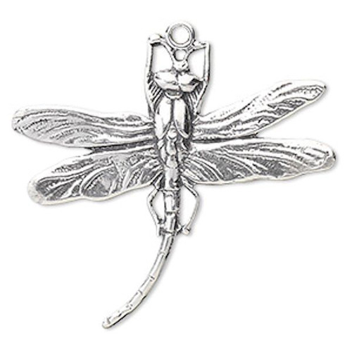 1 Antiqued Sterling Silver Dragonfly Charm Pendant ~ 39x33mm