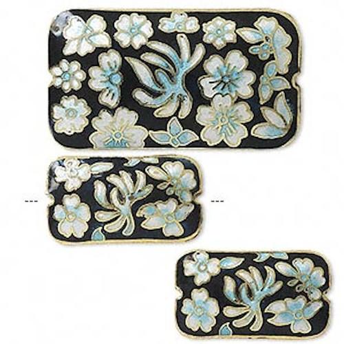 3 Piece Set  Cloisonné Rectangle Beads Gold Plated Black Blue & White