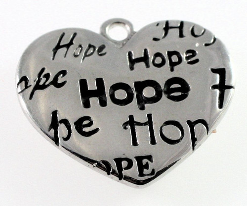 1 Antiqued Silver Plated Pewter 25x21mm HEART with HOPE Charms