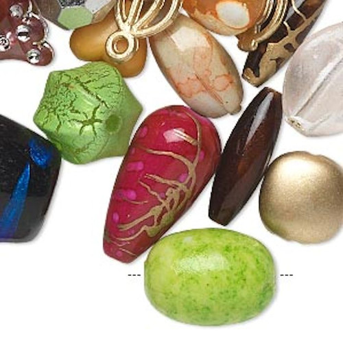 1/2 Pound Acrylic Bead Mix of 4x3mm-53x52mm Mixed Shapes & Colors `