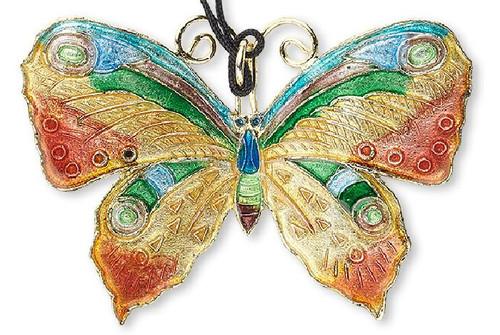 1 Copper Green Blue 55x40mm Butterfly Cloisonne Pendant