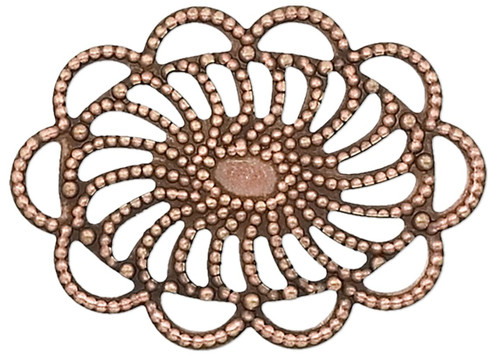 10 Antiqued Copper Plated 19x26mm Filigree Oval Connectors