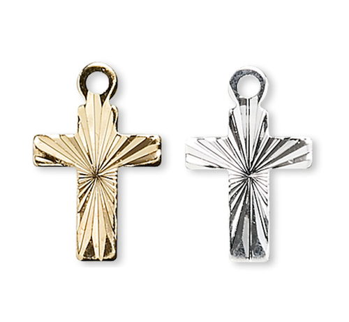 10 OR 100 Gold OR Silver Plated Corrugated Diamond Cut Cross Charms