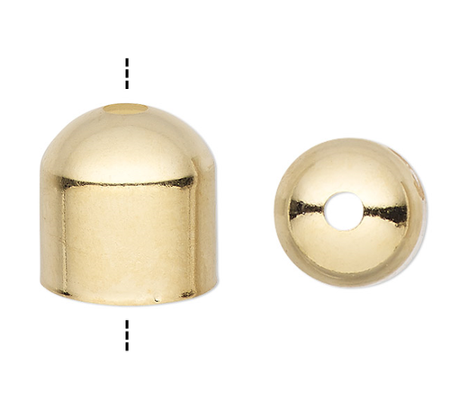 10 OR 100 Gold Plated Brass 8x6mm Cord End Caps with Hole 7mm Inside