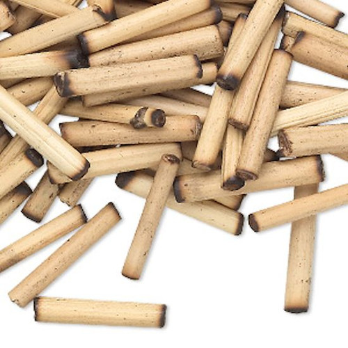 100 Tan Bamboo Wood 18x3mm-20x4mm Round Tube Beads
