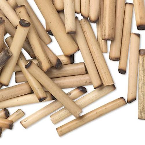 100 Tan Bamboo Wood 23x3mm-28x4mm Round Tube Beads