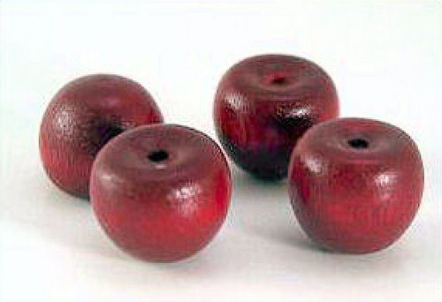 "10 Micro Mini 1/2""x1/2"" Burgundy Wooden Apples"