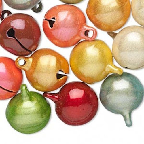 10 Cat's Eye Multi Colors 16mm Jingle Bells with Clapper  *
