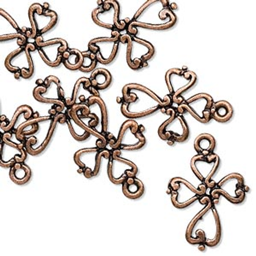 10 Antiqued Copper Open Cross Charms ~ 16.5x14.5mm Crosses