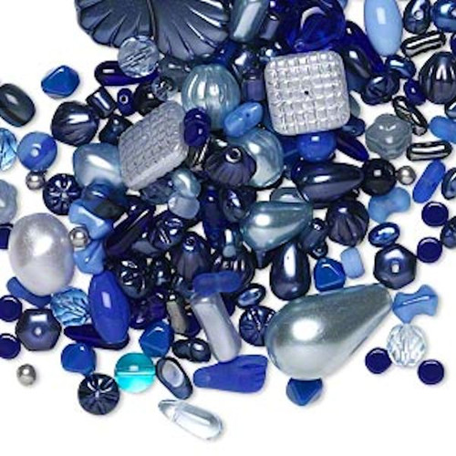 1/4 LB (250) Czech Pressed Glass Blue Bead Mix with 0.8-2mm Hole