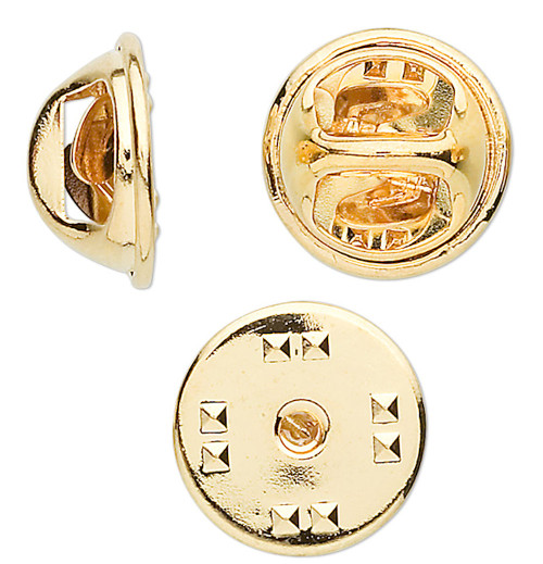 10 OR 100 Gold Plated Brass 11mm Squeeze Style Tie Tac Clutches