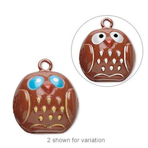 6 Adorable Brown OWL Bell Charms  ~  23x19mm