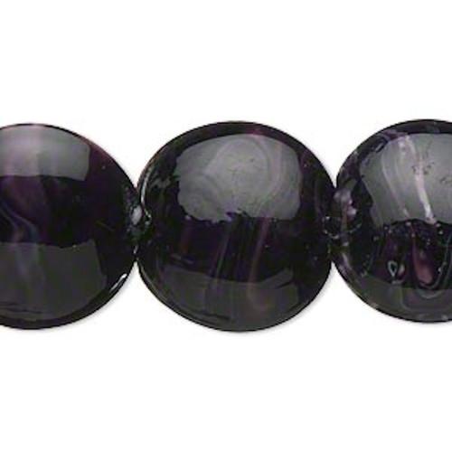 1 Strand Opaque Dark Purple White Swirls Lampwork Flat Round Coin Beads *