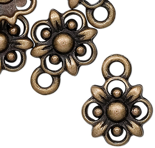 10 Antiqued Brass Pewter 10.5x10.5mm Flower Drop Charms