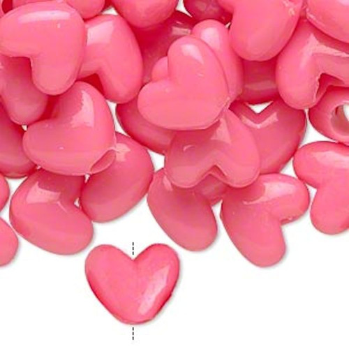 1000 Acrylic 12x10mm Heart Shaped Hot Pink Pony Beads *