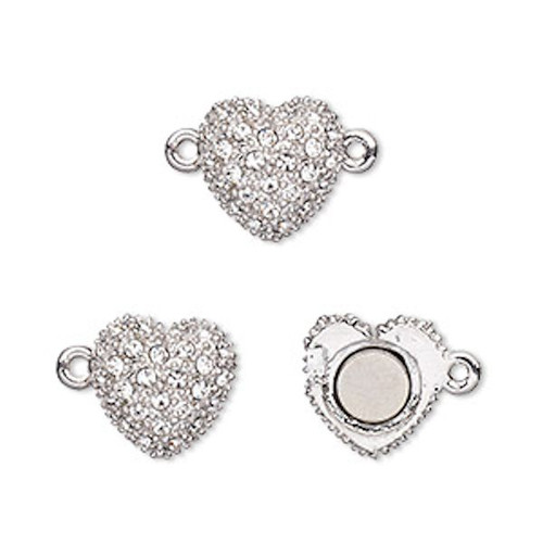 1 Rhodium Plated Pewter 12x12mm Crystal Magnetic Heart Clasp