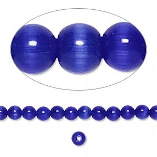 1 Strand Blue Cat's Eye Fiber Optic Glass 4mm Round Grade A Beads `