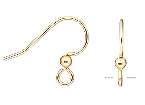 10 Gold Plated Surgical Steel 14x15mm Fishhook Earwires with 2.5mm Ball