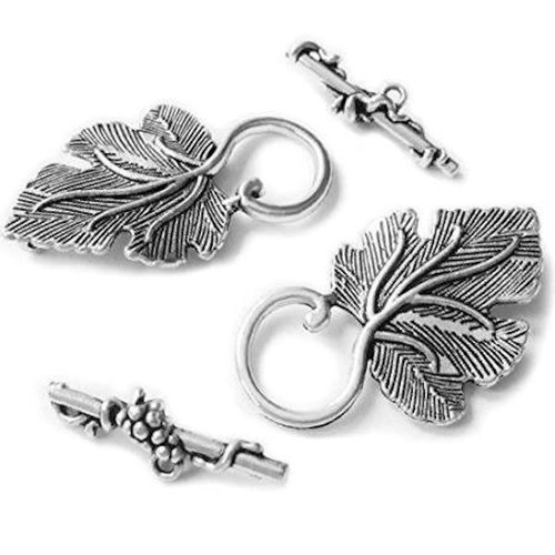 3 Sets Antiqued Silver Plated Pewter Grape Leaf Toggle Clasps  *