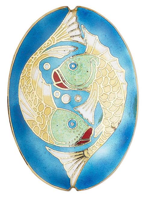 3 Piece Set Cloisonné Blue Green Gold Enameled Copper Fish Beads