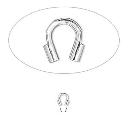 12 Silver Plated Brass Wire Guardians 4x4mm Curved Wire Protectors