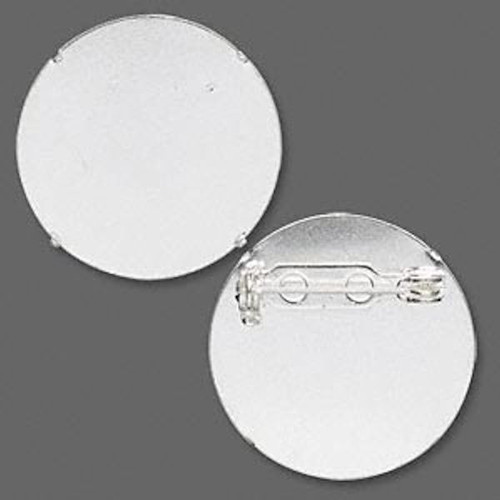 10 Silver Plated Steel 26mm Pin Back for Perforated Beading Discs