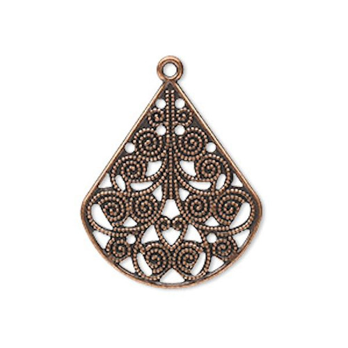 10 Antiqued Copper Plated Steel 26x23mm Filigree Teardrop Connectors