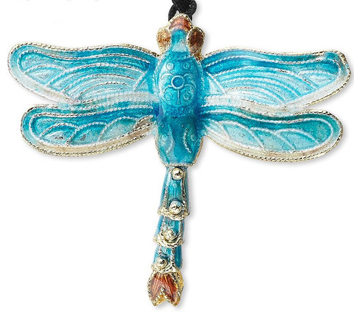 1 Cloisonné Copper 52x47mm Aqua Blue DragonFly Pendant with Black Cord *
