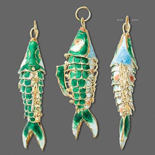 1 Gold Plated Green Moving Fish Cloisonné Charm Pendant ~ 59x22mm  *