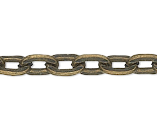 16 Feet Antiqued Brass Plated Steel Flat Cable Chain with 3x2mm Links
