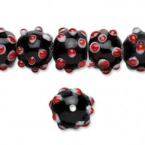 1 Strand Black White Red Lampwork Glass 10mm Round Bumpy Beads  *