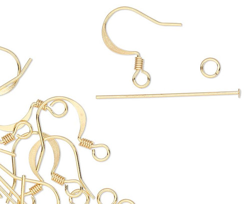 6 Pair Gold Plated Brass Earring Finding Kit of Headpins & Jumprings (60 Pieces)
