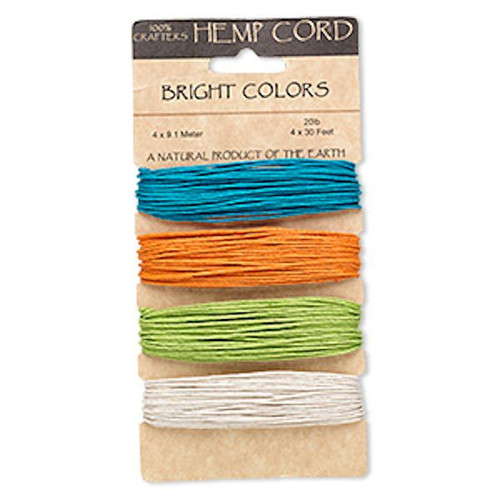 120 Foot Set Assorted Bright Colors Polished Hemp Cord ~ 1mm ~ 20lb Test