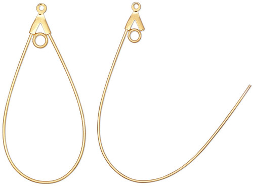 1 Pair Gold Plated Brass 20 Gauge 40x22mm Smooth Teardrop Earring Beading Hoops