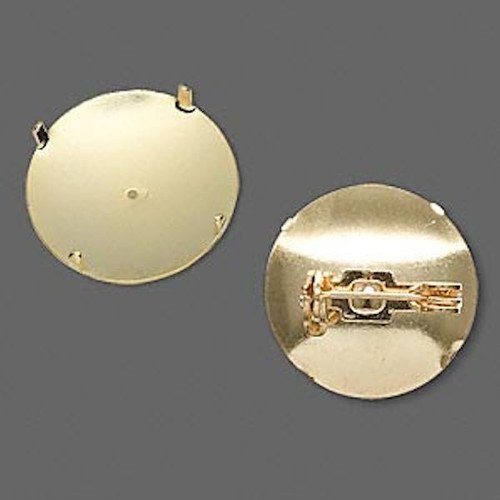 10 Gold Plated 19mm Pin Backs For Perforated Beading Disc Cabochon & More
