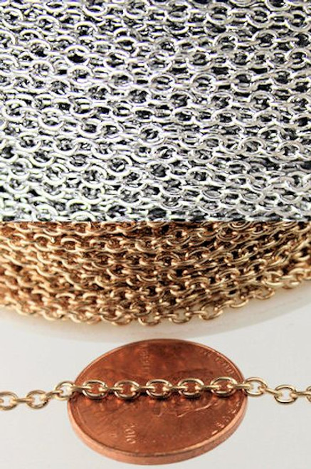 100 Inches Silver OR Gold Plated Fine Cable Bulk Chain with 2x3mm Links
