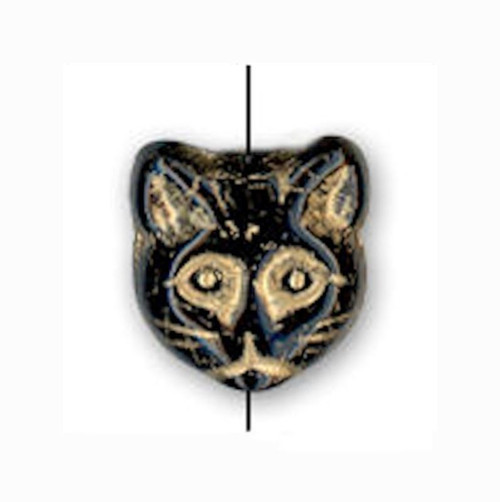 5 OR 25 Jet Black Gold Inlay Glass 12x13mm Cat Head Beads ~ Design on Both Sides