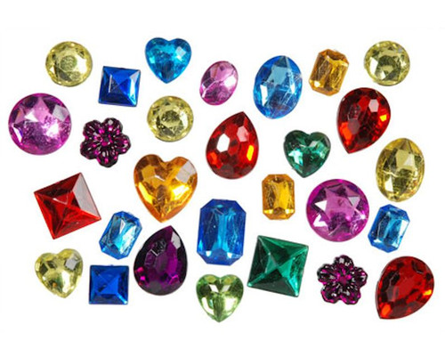 1 Pound Acrylic Rhinestone Multi Colored Gem Color & Shape Mix