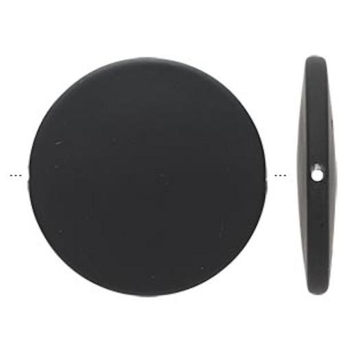 10 Matte Black Rubberized Flat 41mm Round Disc Acrylic Beads *