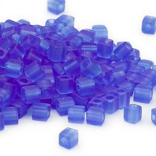 25 Grams Miyuki Frosted Cobalt Blue Glass 3.5-3.7mm Square Seed Beads (SB150F)