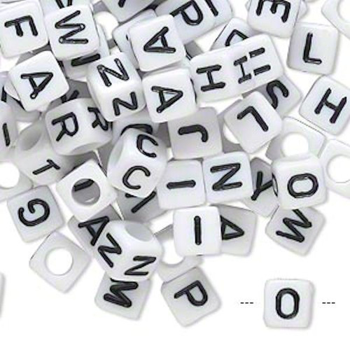 100 White Acrylic Alphabet 6x6mm Square Cube Beads with 3.5mm Hole
